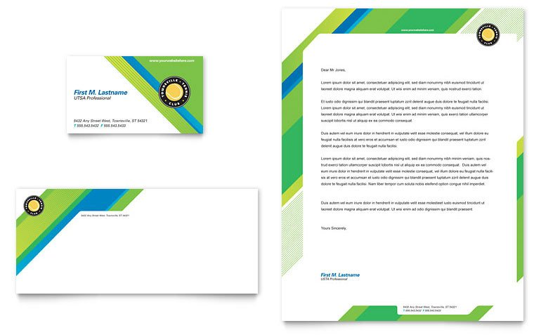 Microsoft Word Design Templates Tennis Club & Camp Business Card & Letterhead Template