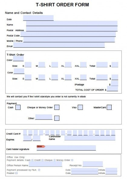 Microsoft Word forms Template Download T Shirt order form Template Word Pdf
