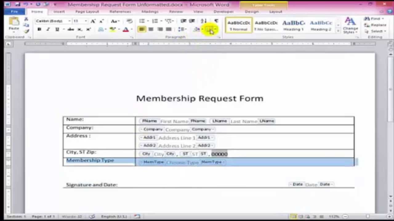 Microsoft Word forms Template How to Create Fillable forms In Word