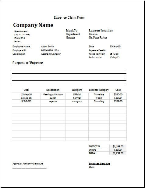 Microsoft Word forms Template Ms Word & Excel Expense Claim forms