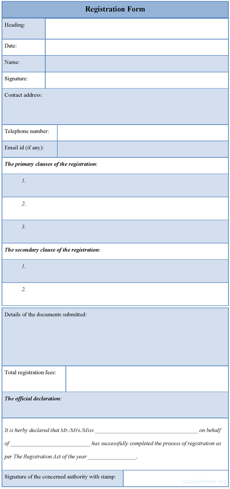 Microsoft Word forms Template Registration form Template