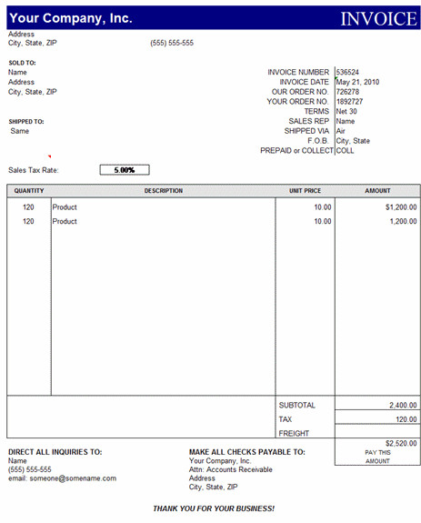 Microsoft Word Invoice Template Free Invoice Template Excel Free