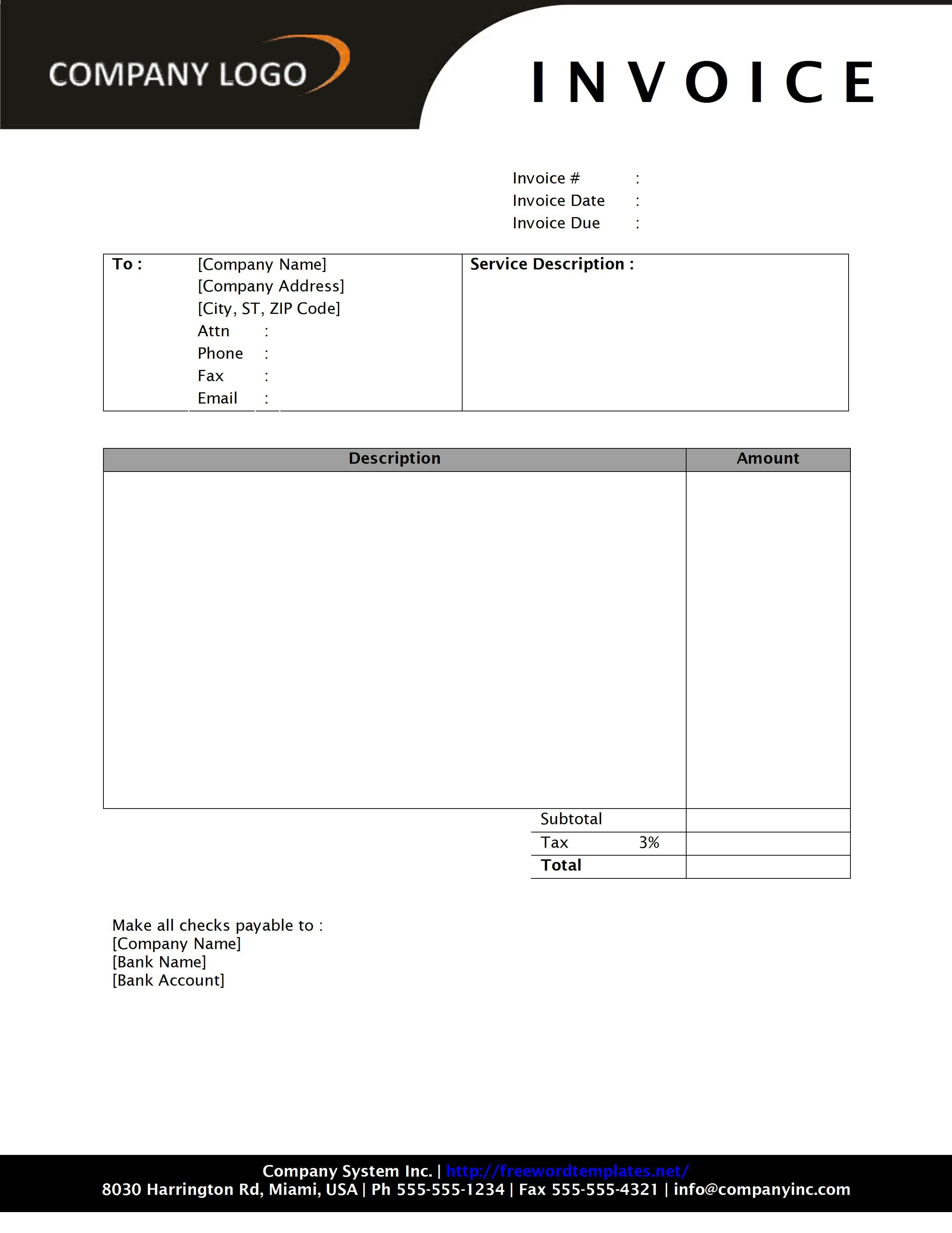 Microsoft Word Invoice Template Free Invoice Template Word 2010