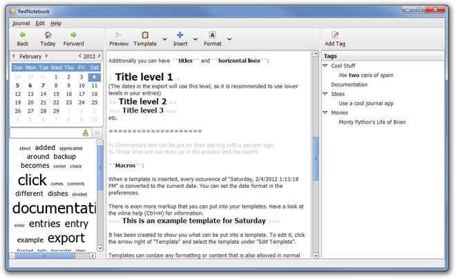 Microsoft Word Journal Templates Rednotebook Journal with Calendar Navigation Templates