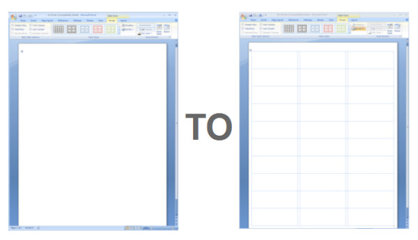 Microsoft Word Label Template Showing Gridlines In A Ms Word Label Template