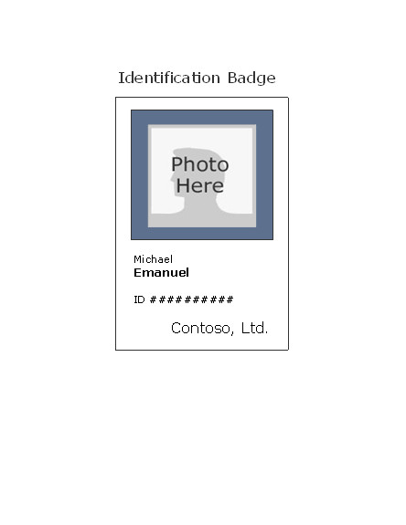 Microsoft Word Name Tag Template Employee Photo Id Badge Portrait