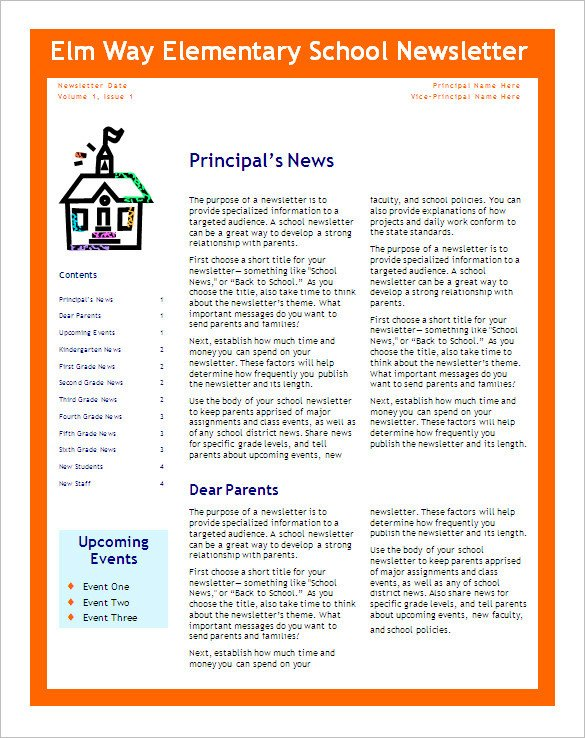 Microsoft Word Newsletter Templates Free 5 School Newsletter Templates Doc Pdf