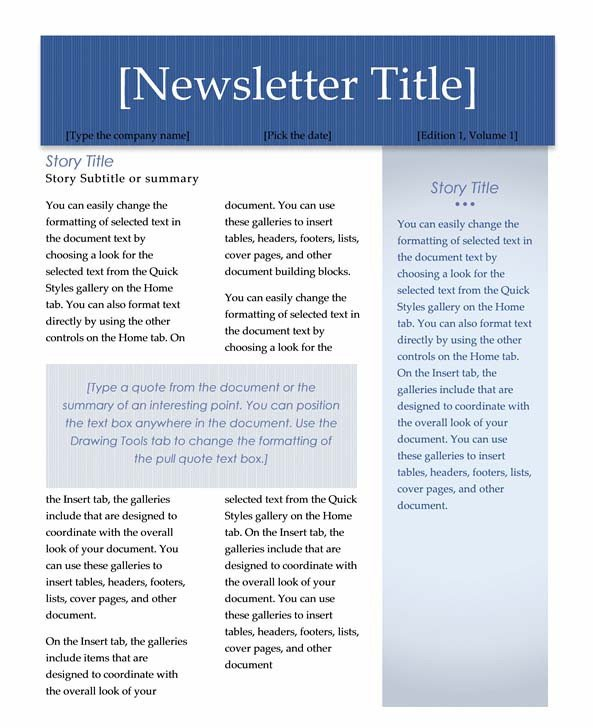 Microsoft Word Newsletter Templates Free Newsletter Templates Word