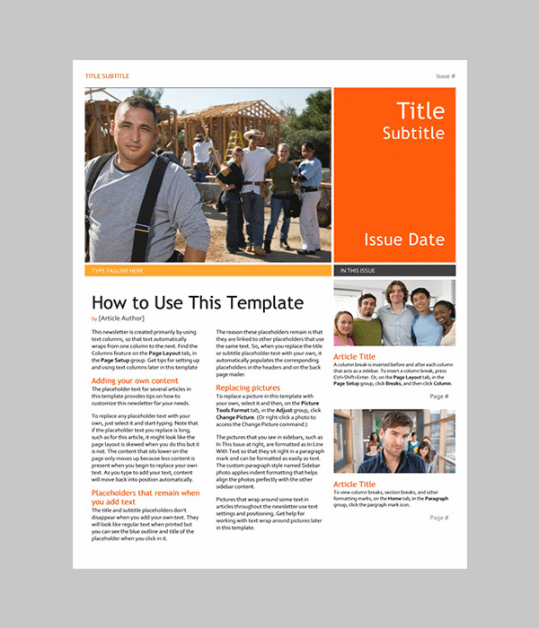 Microsoft Word Newsletter Templates Free Word Newsletter Template – 31 Free Printable Microsoft