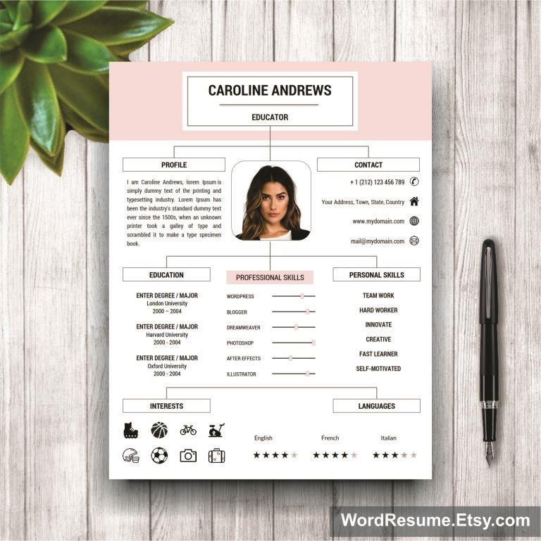 "Microsoft Word Portfolio Template Stylish Resume Template for Ms Word ""caroline andrews"