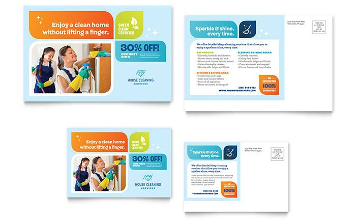 Microsoft Word Postcard Template Cleaning Services Postcard Template Word & Publisher