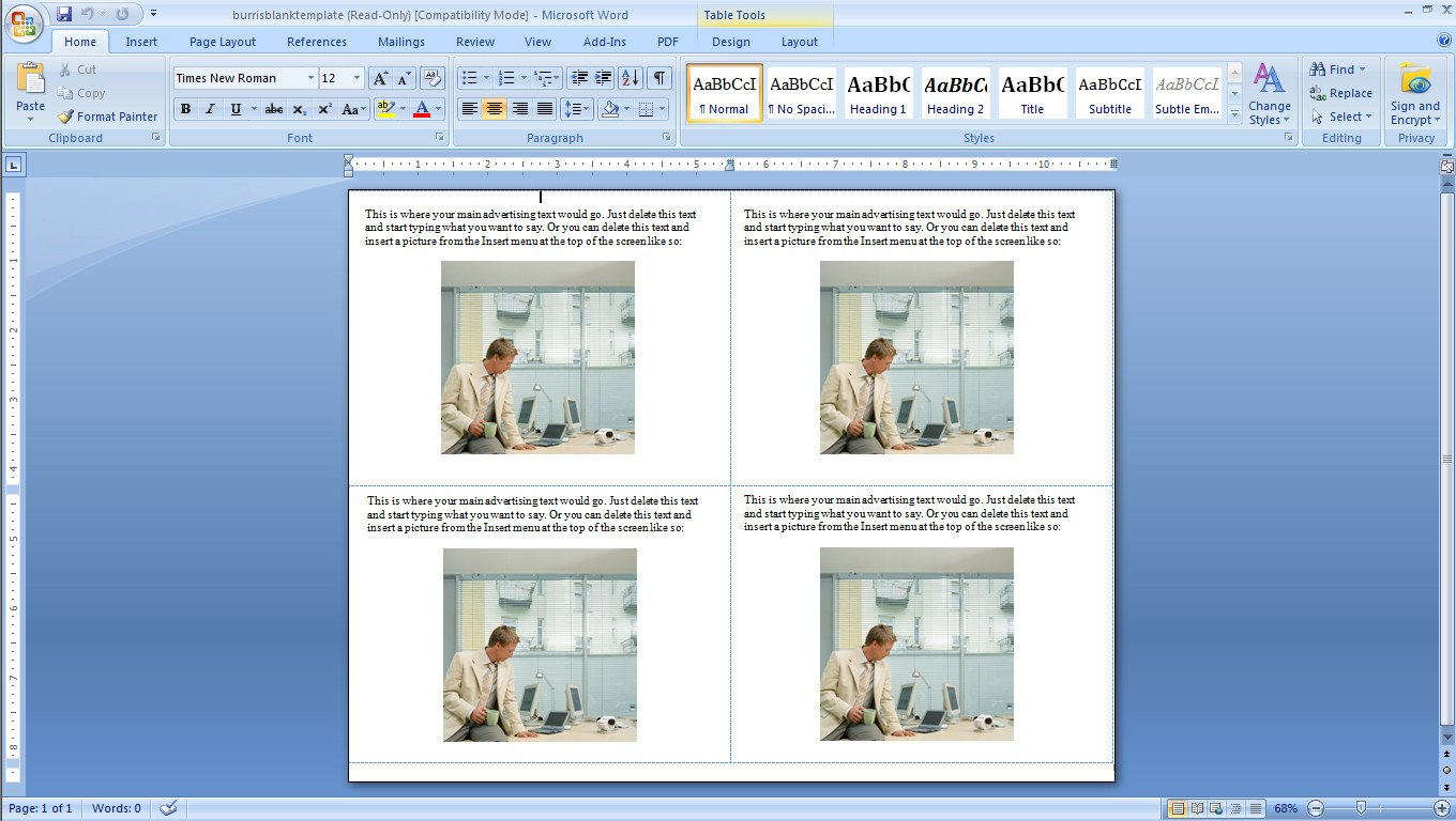 Microsoft Word Postcard Template How to Make Four Postcards the Same Sheet In Word