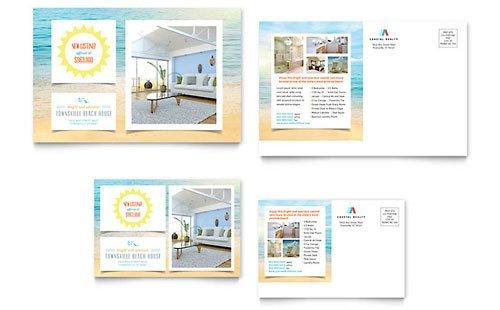 Microsoft Word Postcard Templates Coastal Real Estate Postcard Templates Word & Publisher
