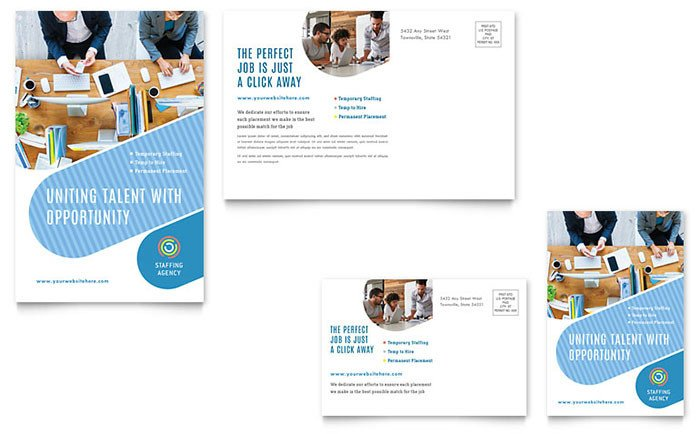 Microsoft Word Postcard Templates Employment Agency Postcard Template Word & Publisher