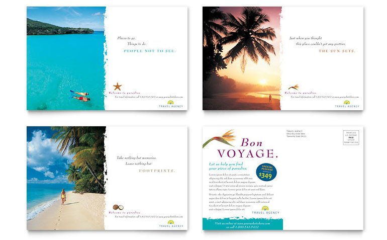 Microsoft Word Postcard Templates Travel Agency Postcard Template Word & Publisher
