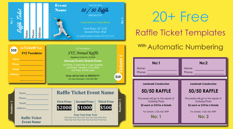 Microsoft Word Raffle Ticket Template 20 Free Raffle Ticket Templates with Automate Ticket