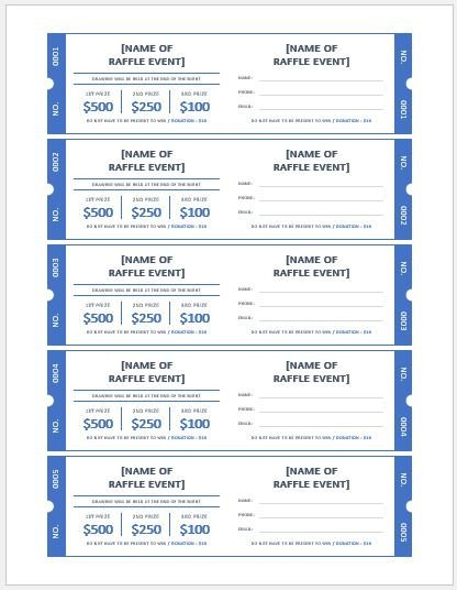 Microsoft Word Raffle Ticket Template Ms Word Raffle Ticket Templates