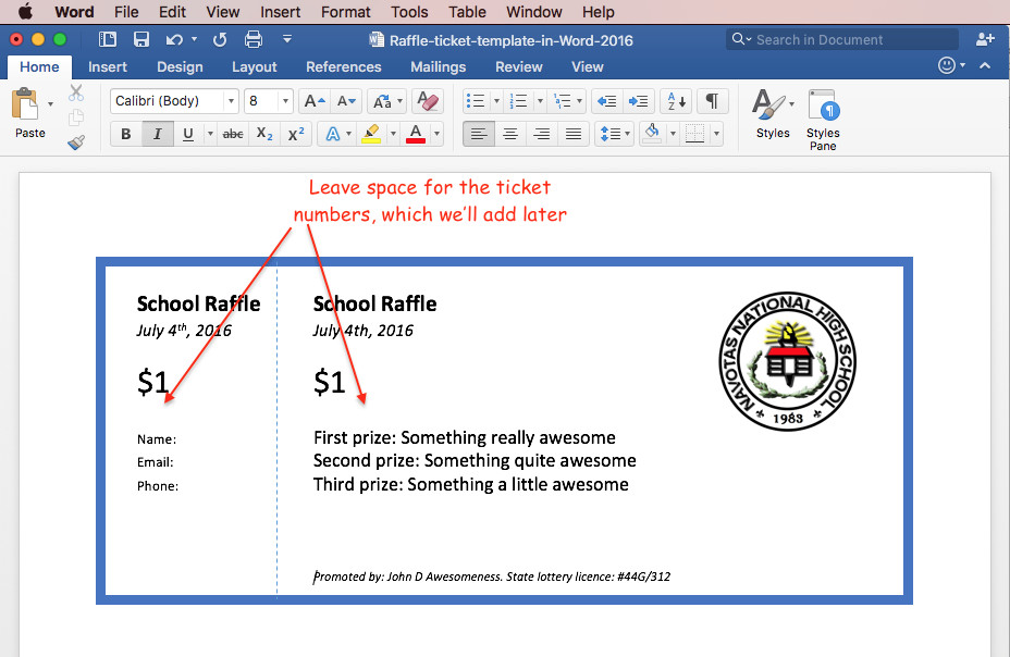 Microsoft Word Raffle Ticket Template Print Raffle Tickets Using A Template In Fice Word 2016