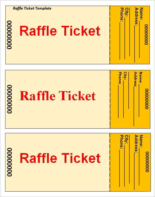 Microsoft Word Raffle Ticket Template Sample Raffle Ticket Template 20 Pdf Psd Illustration