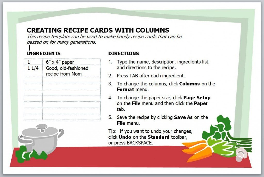 Microsoft Word Recipe Card Template Recipe Card Template