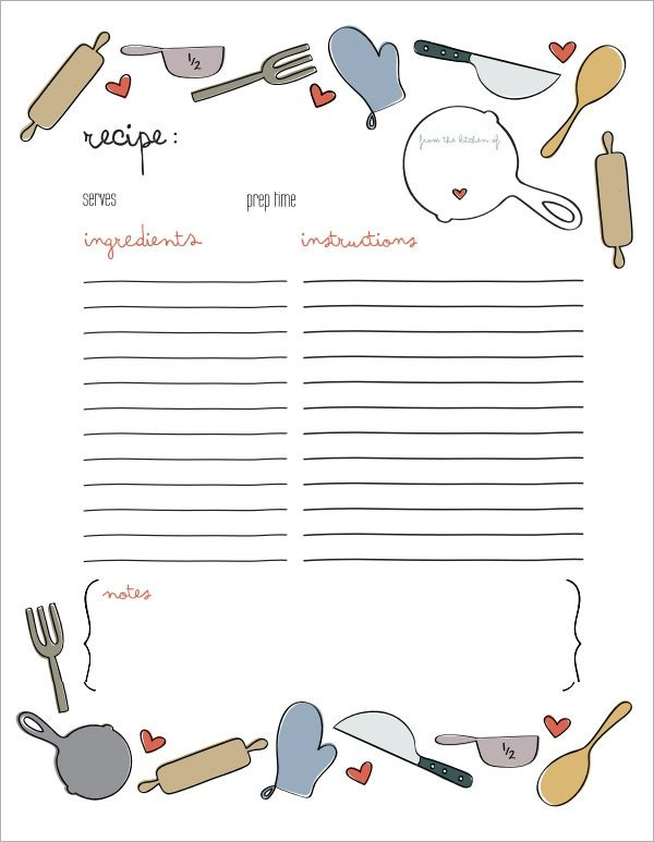 Microsoft Word Recipe Card Template Sample Recipe Card Template 6 Free Documents Download