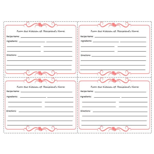 Microsoft Word Recipe Card Template Yummy 5 Free Printable Recipe Card Templates for