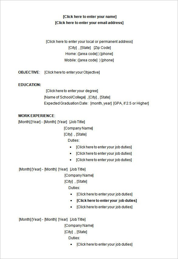Microsoft Word Resume Template Download 34 Microsoft Resume Templates Doc Pdf