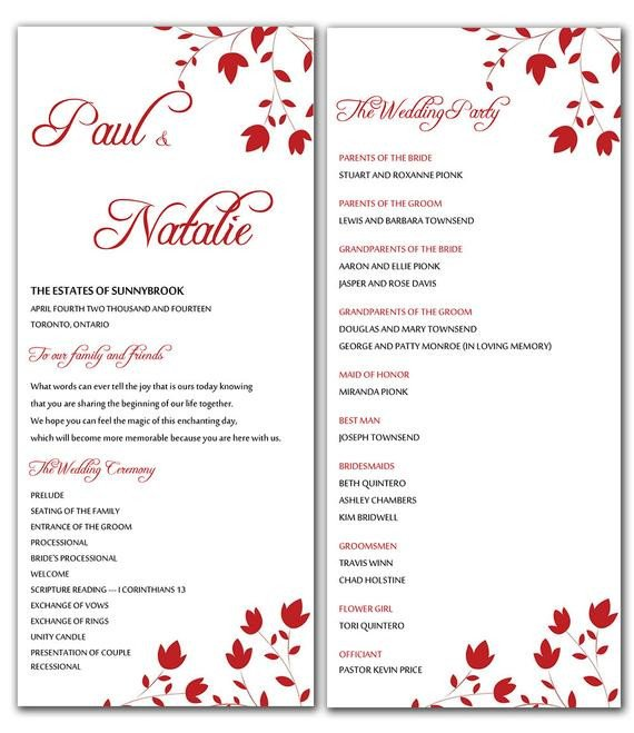Microsoft Word Wedding Program Templates Unavailable Listing On Etsy