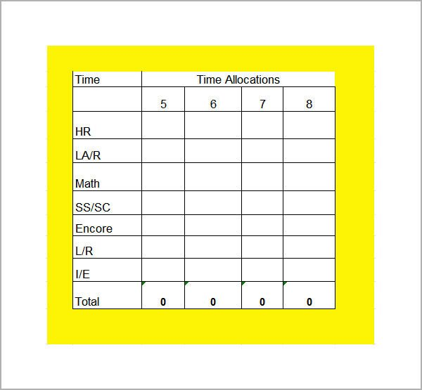 Middle School Schedule Template Sample Class Schedule 6 Documents In Pdf Word Excel