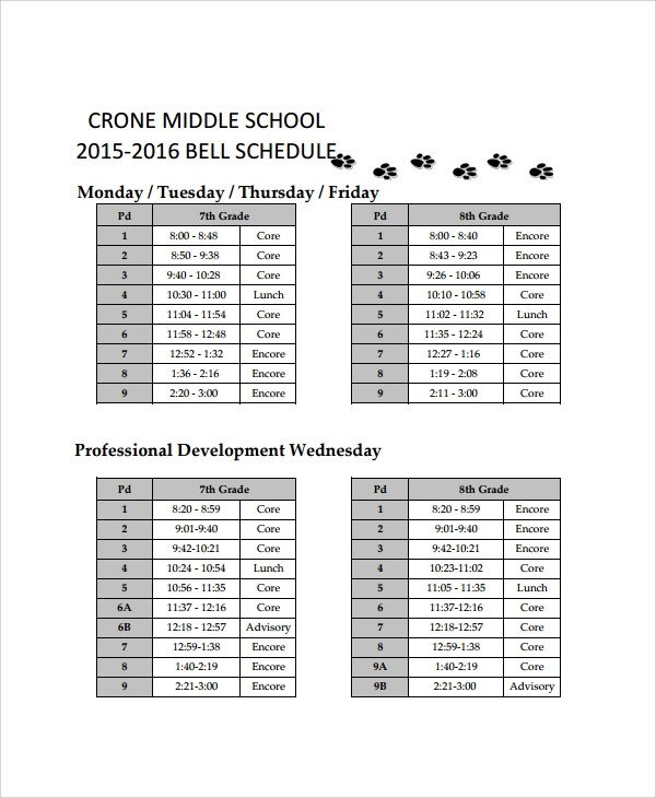 Middle School Schedule Template Sample School Schedule Template 11 Free Documents