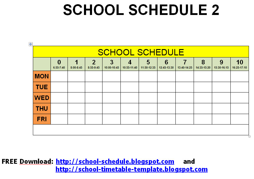 Middle School Schedule Template Schedule for School Printable Template School Schedule 2