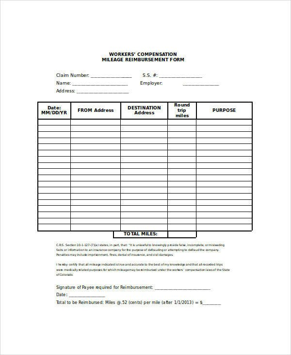 Mileage Reimbursement form Template 27 Sample Claim forms In Word