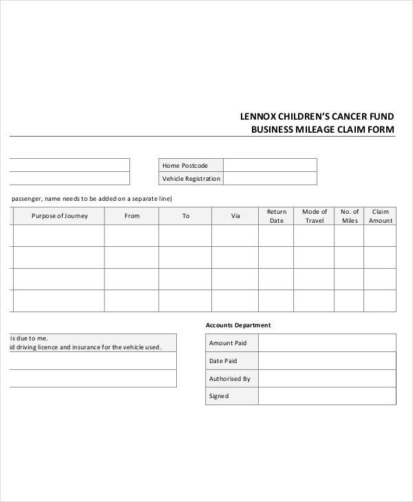 Mileage Reimbursement form Template Claim form Template