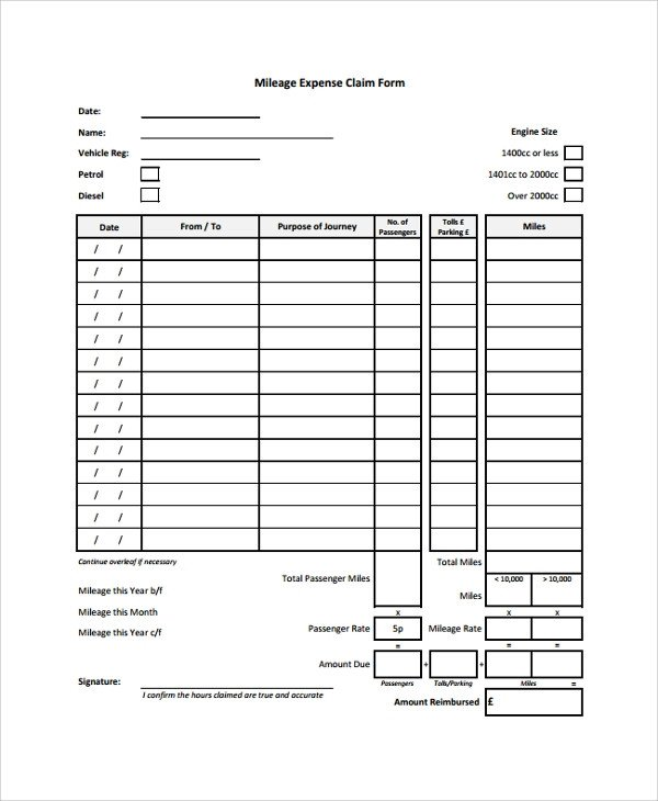 Mileage Reimbursement form Template Sample Expense form 7 Documents In Pdf Word