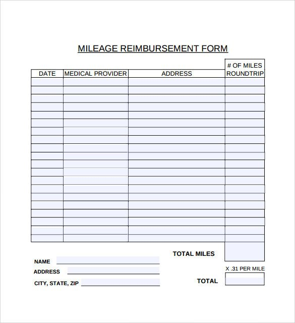 Mileage Reimbursement form Template Sample Mileage Reimbursement form 8 Download Free