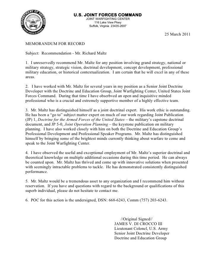 Military Character Reference Letter Letter Re Mendation Richard Maltz 2011