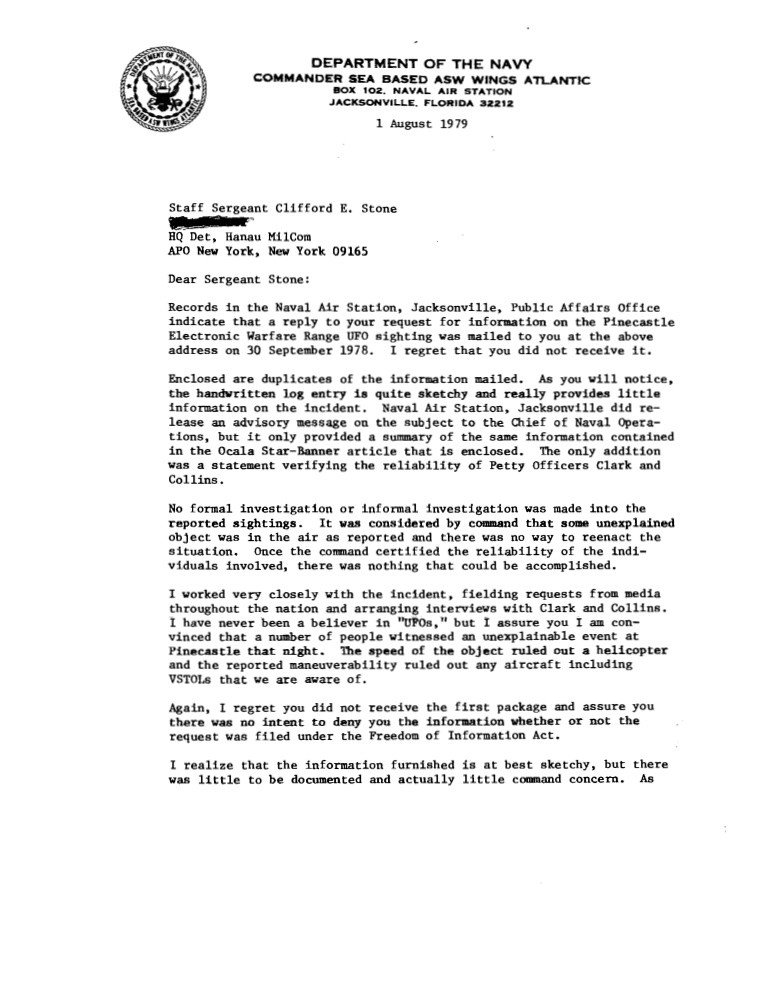 Military Character Reference Letter Pinecastle 1978