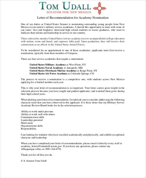 Military Character Reference Letter Sample Military Letter Of Re Mendation 7 Examples In