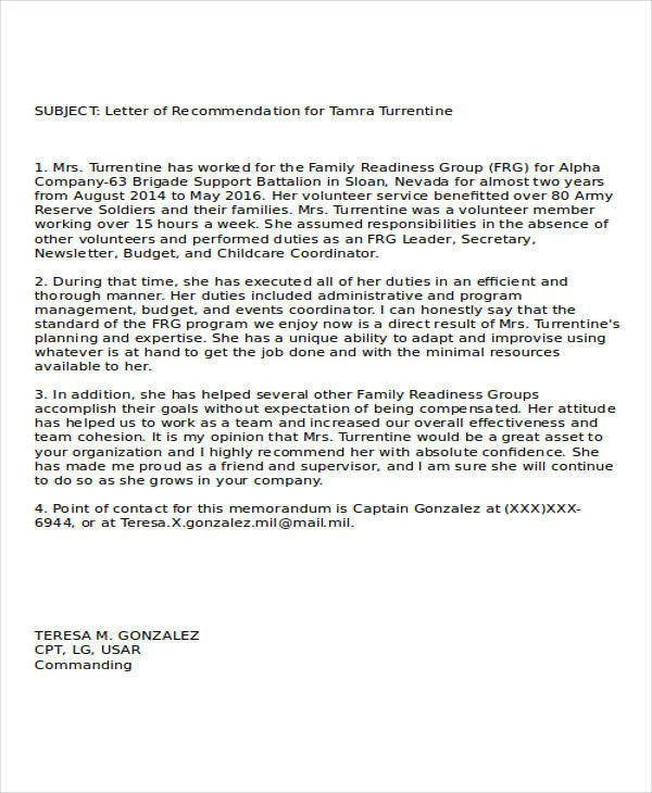 Military Letter Of Recommendation Template 37 Re Mendation Letter format Samples