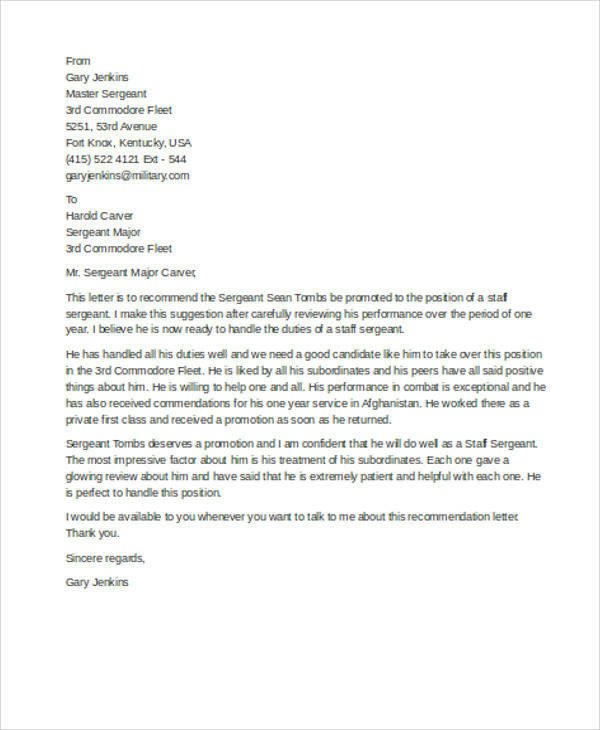 Military Letter Of Recommendation Template 7 Sample Military Re Mendation Letter Samples