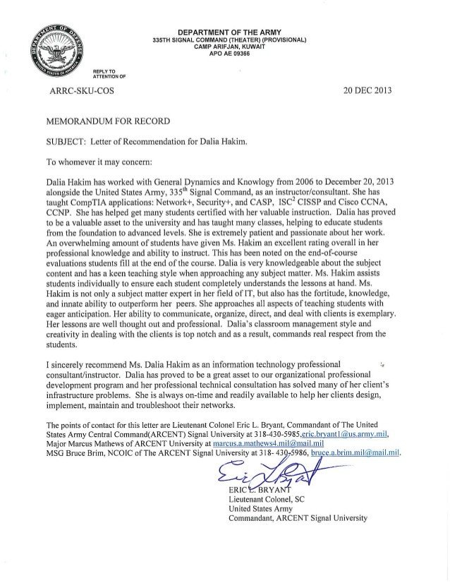Military Letter Of Recommendation Template Army Letter Of Re Mendation