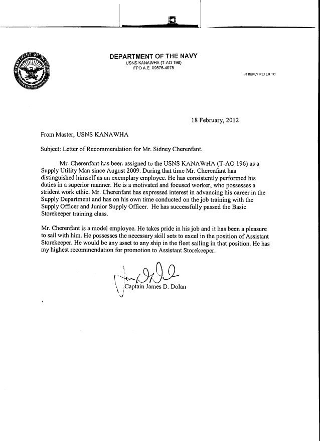 Military Letter Of Recommendation Template Letters Of Re Mendation
