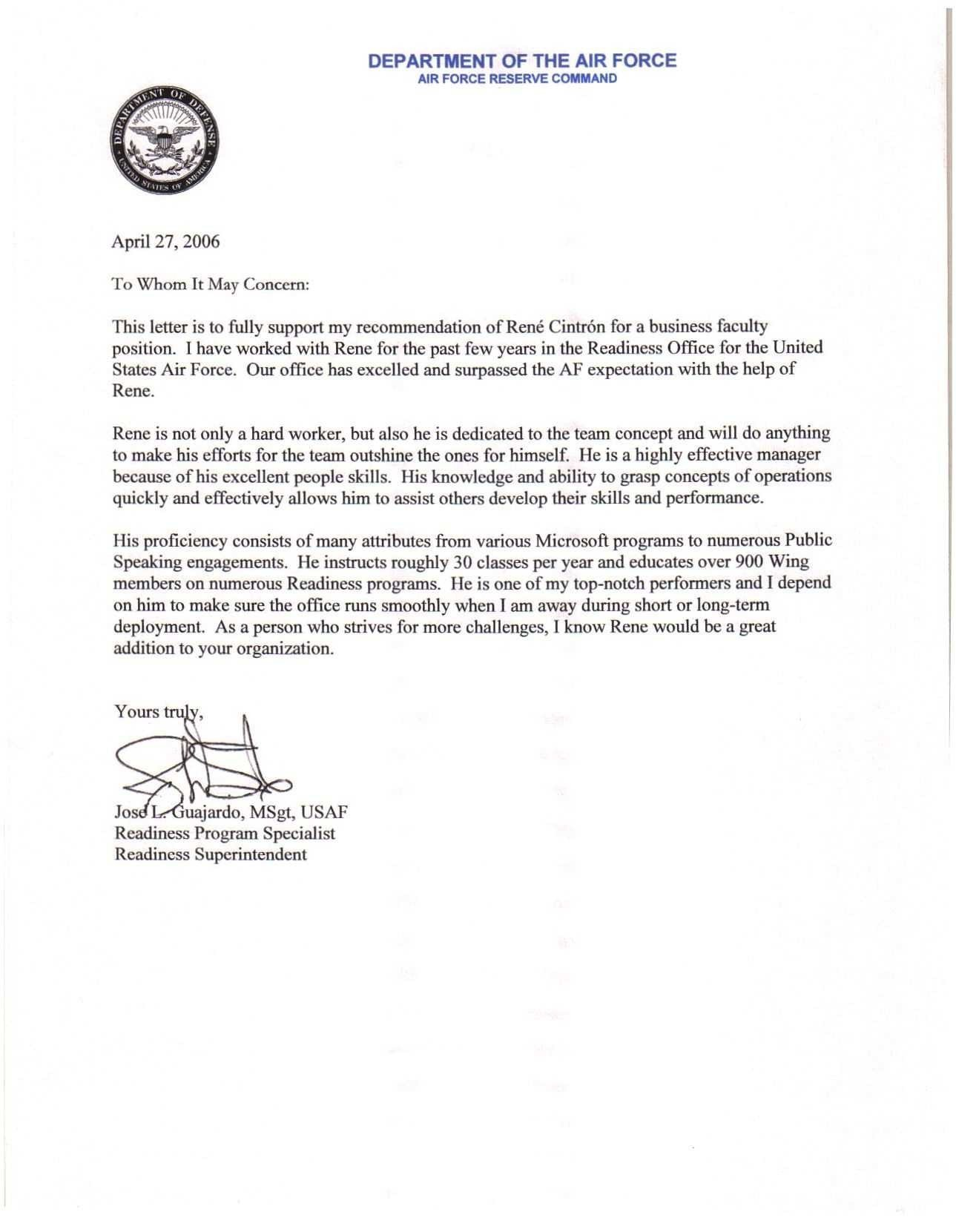 Military Letter Of Recommendation Template New Letter Re Mendation Template Air force