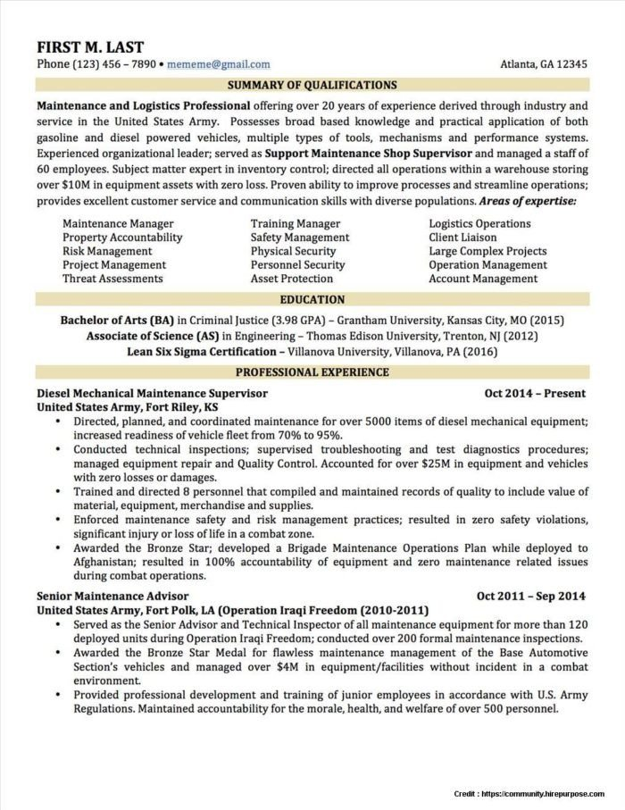 Military to Civilian Resume Template Convert Military Resume to Civilian Resume Resume
