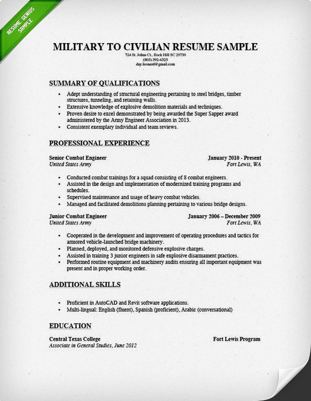 Military to Civilian Resume Template How to Write A Military to Civilian Resume