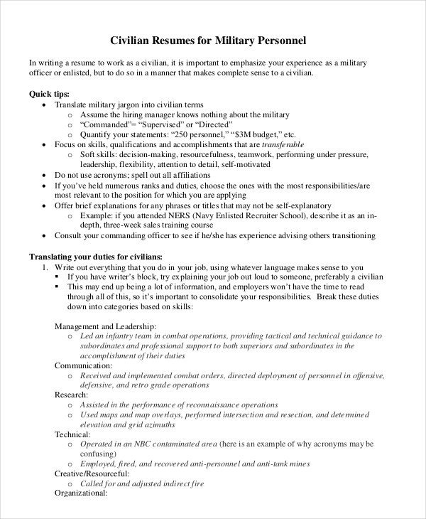 Military to Civilian Resume Template Military Resume Ibrizz