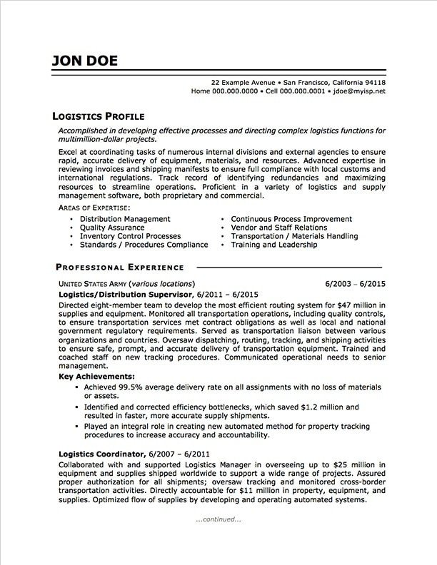 Military to Civilian Resume Template Military to Civilian Resume Sample