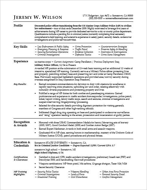 Military to Civilian Resume Template Police Ficer Military to Civilian Resume Sample