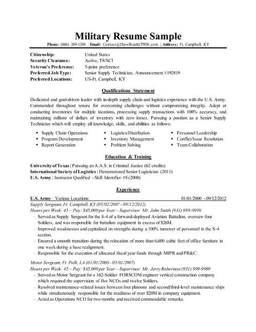 Military to Civilian Resume Template Transitioning Military to Civilian Resumes
