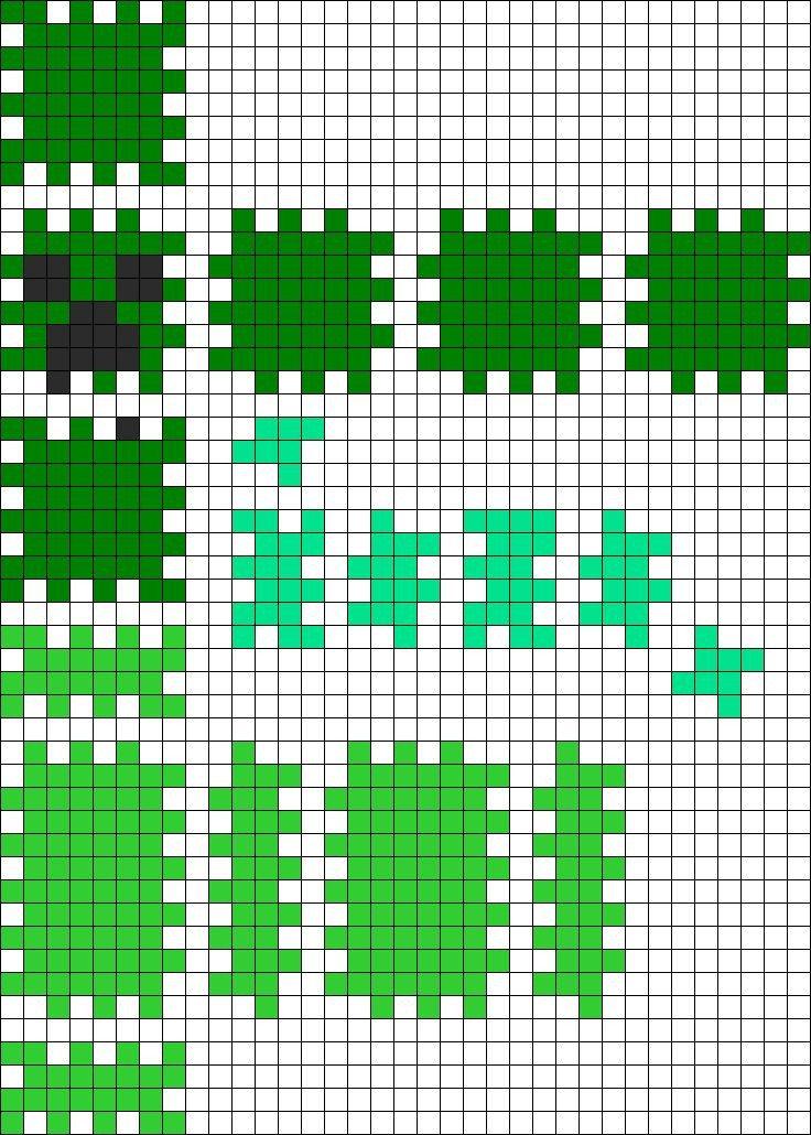 Minecraft Creeper Pattern Printable 3d Minecraft Creeper Perler Bead Pattern